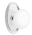 Emtek Ice White Knob with Oval Rosette