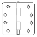 PHG 4 Inch Light Commercial Grade Plain Bearing Hinge with 1/4 Inch Radius Corners (each)