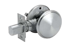Deadbolt with thumb turn on the inside and blank plate on the exterior.
