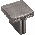 Hardware Resources Anwick 1-1/8 Inch Square Cabinet Knob- Brushed Pewter
