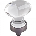 Hardware Resources Harlow 1-1/4 Inch Glass Oval Cabinet Knob - Brushed Pewter