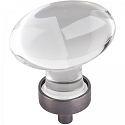 Hardware Resources Harlow 1-5/8 Inch Glass Oval Cabinet Knob - Brushed Pewter