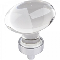 Hardware Resources Harlow 1-5/8 Inch Glass Oval Cabinet Knob - Polished Chrome