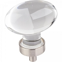 Hardware Resources Harlow 1-5/8 Inch Glass Oval Cabinet Knob - Satin Nickel