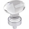 Hardware Resources Harlow 1-1/4 Inch Glass Oval Cabinet Knob - Polished Chrome
