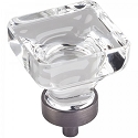 Hardware Resources Harlow 1-3/8 Inch Glass Square Cabinet Knob - Brushed Pewter