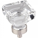 Hardware Resources Harlow 1-3/8 Inch Glass Square Cabinet Knob - Satin Nickel