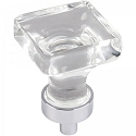 Hardware Resources Harlow 1 Inch Glass Square Cabinet Knob - Polished Chrome