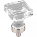 Hardware Resources Harlow 1 Inch Glass Square Cabinet Knob - Satin Nickel