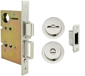 Inox PD8440 Mortise Pocket Door Privacy Lockset, FH22 Round Flush Pull