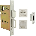 Inox PD8460 Mortise Pocket Door Patio Lockset, FH23 Square Flush Pull