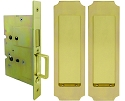 Inox PD8115 Mortise Pocket Door Passage w/ Lockcase as Dust Proof Strike, FH32 Crown Flush Pull