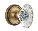 Nostalgic Warehouse Classic Rosette with Oval Fluted Crystal Knob - Mortise Lock