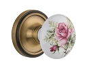 Nostalgic Warehouse Classic Rosette with White/Rose Porcelain Knob - Mortise Lock