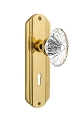 Nostalgic Warehouse Deco Plate with Oval Fluted Crystal Knob - Mortise Lock