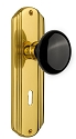 Nostalgic Warehouse Deco Plate with Black Porcelain Knob - Mortise Lock