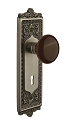 Nostalgic Warehouse Egg & Dart Plate with Brown Porcelain Knob - Mortise Lock