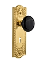 Nostalgic Warehouse Meadows Plate with Black Porcelain Knob - Mortise Lock