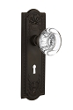 Nostalgic Warehouse Meadows Plate with Round Clear Crystal Knob - Mortise Lock