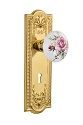 Nostalgic Warehouse Meadows Plate with White/Rose Porcelain Knob - Mortise Lock