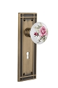 Nostalgic Warehouse Mission Plate with White/Rose Porcelain Knob - Mortise Lock
