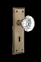 Nostalgic Warehouse New York Plate with Round Clear Crystal Knob - Mortise Lock