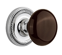 Nostalgic Warehouse Rope Rosette with Brown Porcelain Knob