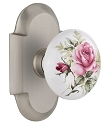 Nostalgic Warehouse Cottage Plate with White Rose Porcelain Door Knob