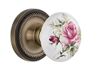 Nostalgic Warehouse Rope Rosette with Rose Porcelain Knob - Mortise Lock