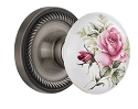 Nostalgic Warehouse Rope Rosette with White/Rose Porcelain Knob