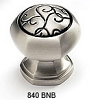Schaub 1-3/8 Inch Brushed Nickel Black Cabinet Knob 840-BNB