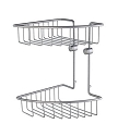 Smedbo House Collection Corner Two Level Soap Basket - Brushed Chrome