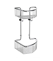 Smedbo Sideline Collection Basic Two Level 6 1/2 Inch Corner Soap Basket - Polished Chrome