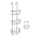 Smedbo Sideline Collection Basic Corner Triple Level Shower Door Basket - Polished Chrome