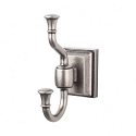 Top Knobs STK2AP Stratton Double Towel or Robe Hook - Antique Pewter