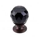 Top Knobs TK115ORB Black Crystal Knob 1 1/8 Inch-Oil Rubbed Bronze