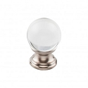 Top Knobs TK840BSN 1 inch Clarity Clear Crystal Cabinet Knob - Brushed Satin Nickel