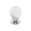 Top Knobs TK840PC 1 inch Clarity Clear Crystal Cabinet Knob - Polished Chrome