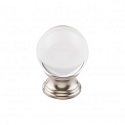 Top Knobs TK841BSN 1 3/16 inch Clarity Clear Crystal Cabinet Knob - Brushed Satin Nickel