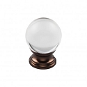 Top Knobs TK841ORB 1 3/16 inch Clarity Clear Crystal Cabinet Knob - Oil Rubbed Bronze
