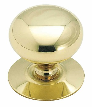 Allison AL544 - 1 1/2 Inch Solid Brass Cabinet Knob with Backplate