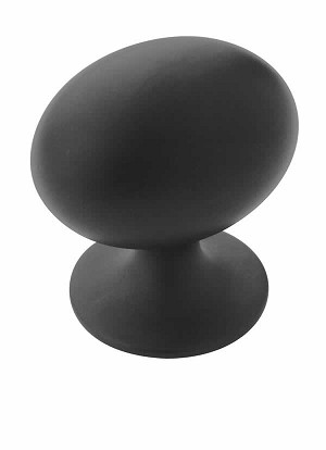 Amerock Allison Value -  1 3/8 Inch Flat Black Oval Cabinet Knob