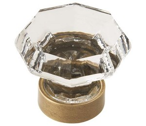 Amerock Traditional Classics 1 5/16 Inch Cabinet Knob - Clear/Gilded Bronze
