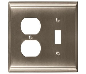 Amerock Candler Toggle & Plug Combo Wall Plate - Satin Nickel