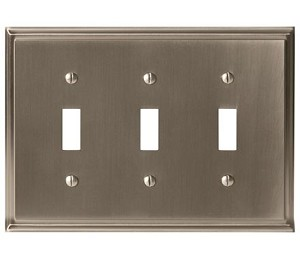 Amerock Mulholland Triple Toggle Wall Plate - Satin Nickel