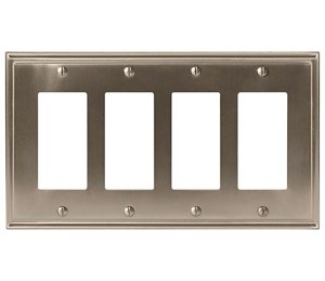 Amerock Mulholland Quad Rocker Wall Plate - Satin Nickel