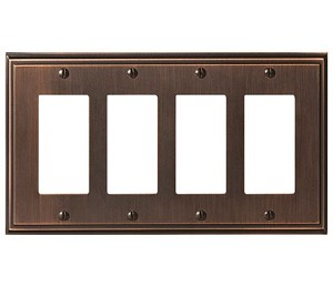 Amerock Mulholland Quad Rocker Wall Plate - Oil-Rubbed Bronze