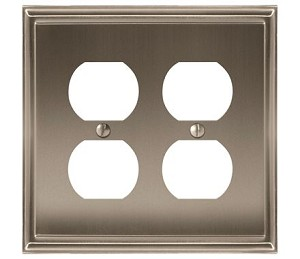 Amerock Mulholland Double Plug Wall Plate - Satin Nickel