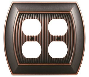Amerock Sea Grass Double Plug Wall Plate - Oil-Rubbed Bronze