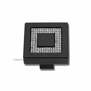 Atlas Homewares Crystal and Pave Collection Square Inset Crystal Knob in Matte Black